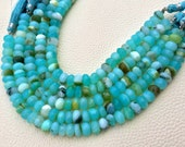 Promotional Price,8mm Size,Brand New, Full 8 Inch Strands,Peruvian Blue Opal Faceted Rondelles Beads, Amazing Item at Low Price