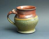 Pottery beer mug,  ceramic mug, large stoneware stein, iron red 16 oz 3283