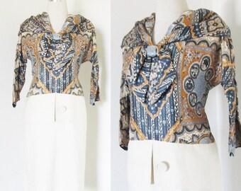 Vintage 1960's Paisley Shift Day Dress / Novelty Print Classic Casual Secretary Dress Size Medium