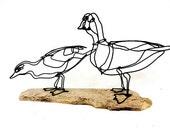 Duck Wire Sculpture, Mallard Duck Sculpture, Drake and Hen Sculpture, 265447130