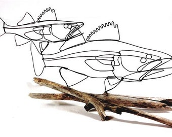 Double Walleye Fish Wire Sculpture, Fish Wire Art, Fish Minimal Sculpture, Walleye Fish Art, 287945413