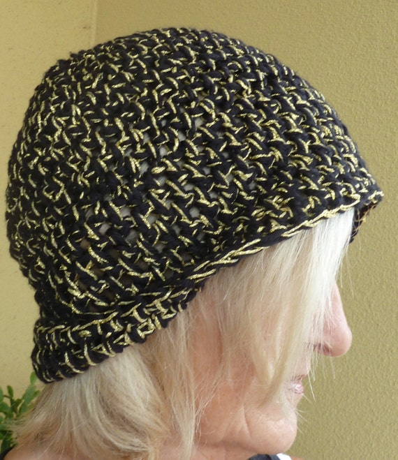 Women Fashion / Women Crochet Hat / Black and Gold Crochet Hat / Unique Winter Accessories / Hats By Anne/ Team Hat