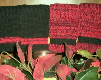 Four Large red and black Pre- shrunk 100 percent cotton machine knit dish cloths...11 inches X 12 inches