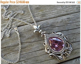 ON SALE Large medieval necklace with a pink cz in sterling silver