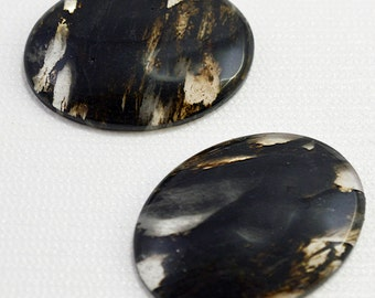 Black moss cabochon, 30x40 - #1728