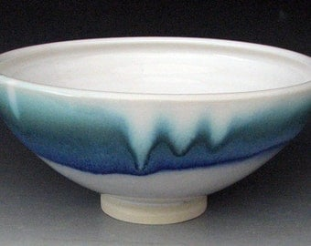 STONEWARE BOWL #18 - Ceramic Bowl - Blue Bowl - White Bowl - Pottery Bowl - Studio Pottery