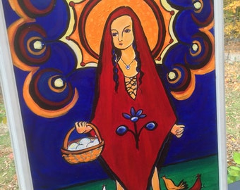 Our Lady of Chickens original painting