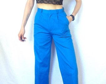 Vintage Blue Pants 80s High Waist Trousers Pockets with Belt Loops Size Small Petite Creased Pant