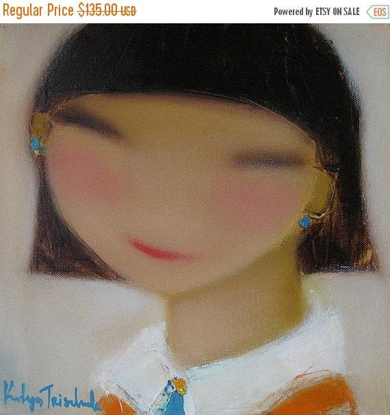 Sale 50off Student Portrait Oil on Canvas original oil painting 12x12 ~ smart children ~ JK school student ~ little girl ~ first day of scho