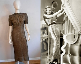 Too Glamourous For Words - Vintage 1930s Milgrim Bronze Lamé Silk Rayon Dress w/Gathered Bodice - 2/4