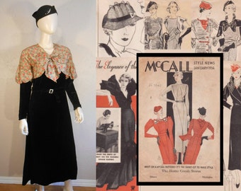 Design For Living - Vintage 1930s Black Velvet & Deco Print Silk Rayon Jabot Juliet Sleeve Dress - 4/6