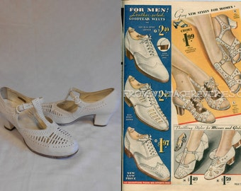 Summer's Promenade - Vintage 1930s Dr Scholl's White Leather Lattice T-Strap Heels Shoes - 6 C