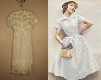 Light Giggles In the Air - Vintage Early 1950s White Ivory Sheer Nylon/Rayon Ribbon Dress - XS