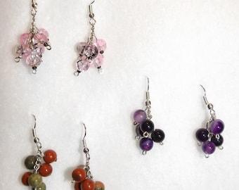 Cluster bead earrings pink Jasper/green purple