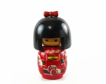 Vintage Kokeshi Doll, Japanese Home Decor, Wooden Doll, Japanese Doll in Red Kimono with Cherries, Miyama Kenji