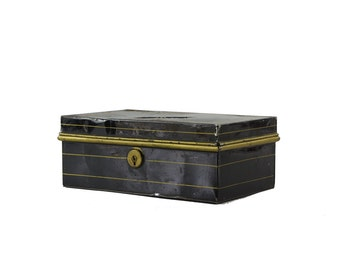 Vintage Cash Box, Rustic Industrial Decor, Small Storage Box, Black Metal Document Box with Gold Trim, Petty Cash Box
