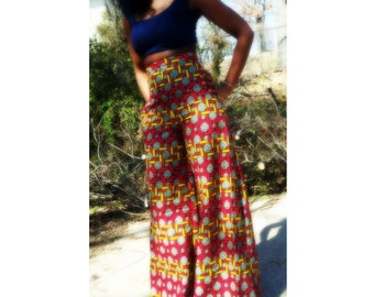 Wide leg African print pants