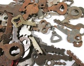 VINTAGE Keys One Hundred (100) Vintage SKELETON Keys Flat Skeletons Assorted Lot Steampunk Jewelry Assemblage Scrapbook Art Supplies (L112)
