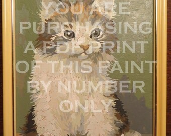 Paint by Number Kitten -  Instant Download