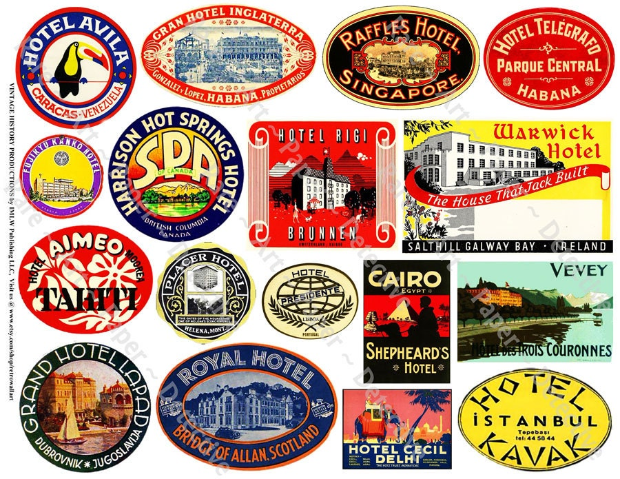 Hotel Luggage Label Printed Travel Suitcase Decals Travel