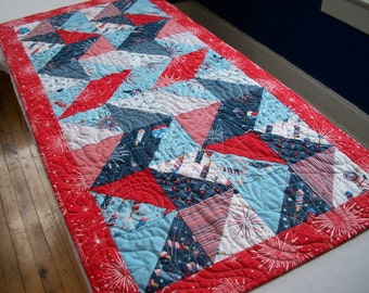 Patriotic Table Runner Red White Blue Stars Veterans Day Freedom Land of the Free Quilted Quiltsy Handmade Fireworks FREE U.S. Shipping