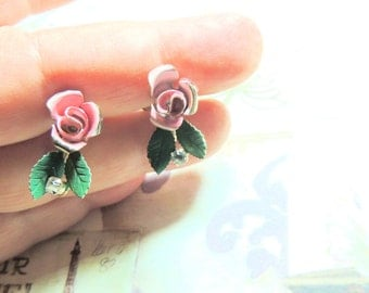 Pink Enamel Vintage Earrings Roses Vintage Jewelry