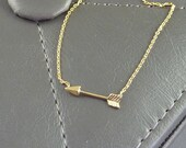 Gold Arrow Necklace. 14k yellow gold plated. modern. delicate. whimsical. layering.