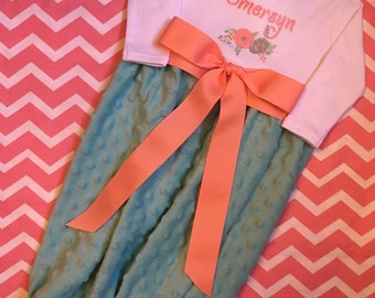 Aqua and coral baby gown, Minky  baby gown, shabby chic baby gown, shabby chic baby