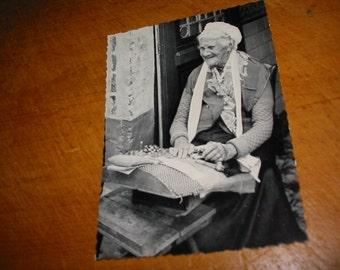 Vintage Belgian Lacemaking Photo PC Old Belgian Lady Making Lace Photo Old Lace Belgium
