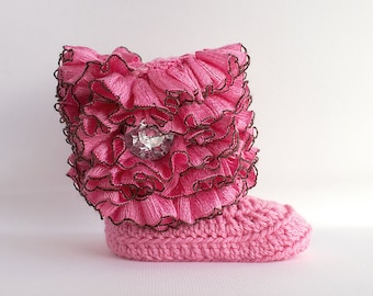 Pink Ruffle Infant Crochet Boots- Choose Your Size