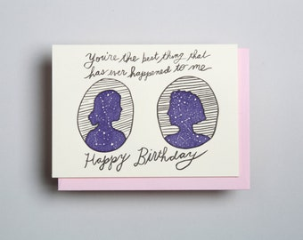 "Letterpress card,  ""You're the best thing...Happy Birthday (FF)!"""