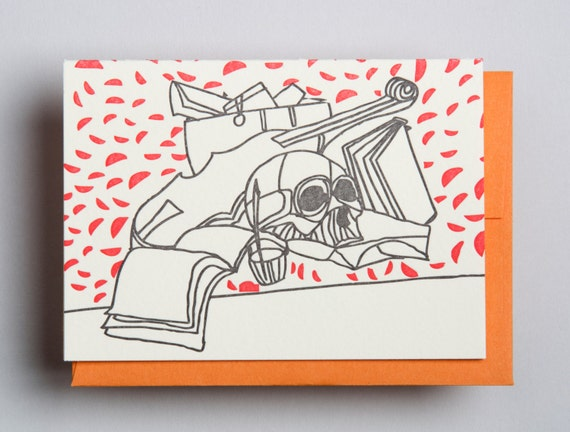 "Letterpress card,  ""Still life (skull)"""
