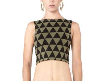 Triangle Print Top -  Organic Yoga Top - Yoga Top - Yoga Clothing - Crop Top - Triangle Print