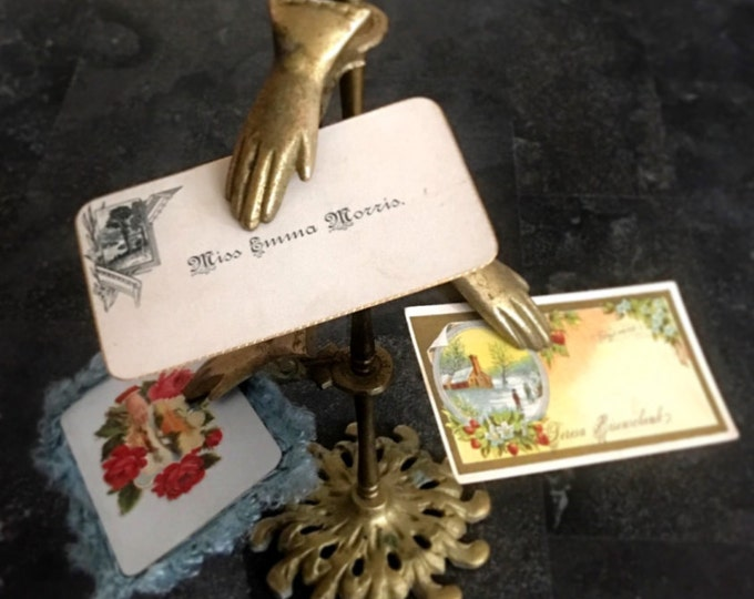 Vintage Victorian Style Brass Multi Hand Clip Calling Card Holder Display