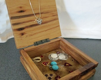 Hickory  Wooden Jewelry box.