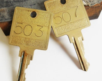 2 vintage keys Numbered 503 507 large locker post office box brass hardware salvage jewelry Supplies gothic steampunk