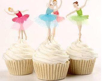 Ballerina Cupcake Toppers-pkg24
