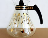 Vintage David Douglas Flameproof Coffee Pot Decanter Carafe with Gold Accents Retro 1960's Mod Kitchen Decor