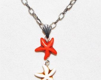 Starfish pendant necklace, Triple starfish necklace