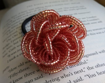 Metallic Peach Rose Hair Tie, French Beaded Flower, French Beaded Rose, Floral Hair Elastic, Rose Hair Accessory