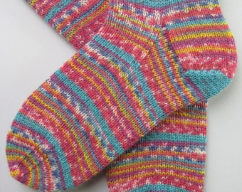 hand knitted womens wool socks, UK 4-6 US 6-8, ladies socks, opal wool socks, pink socks, childrens socks, handknit socks, multicolored