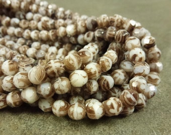 White/Brown Opaque Czech Glass Firepolish Beads 6mm Faceted Glass 25pc Striped