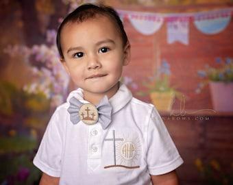 Cross Monogrammed Polo Shirt, Holy Communion Boy Shirt, Bow Tie, White Polo Church Shirt, Personalized, Toddler, Wedding Shirt, Ring Bearer