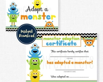 Adopt a Monster Certificate and Sign, Little Monster Birthday Printable INSTANT DOWNLOAD