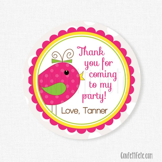 Bird Favor Tags, Pink Bird Party Tags, Girl Birthday Party Favors, Little Birdie Theme Tag, Personalized