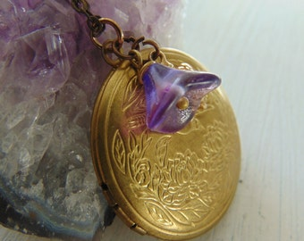 Brass And Flower locket  Necklace