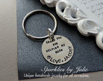Thank You For Helping Me Grow Key Ring- Hand Stamped Nickel Silver Key Chain, Personalized Nanny / Babysitter/ Teacher Appreciation Gift