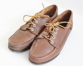 BLOWOUT 40% off sale Vintage Foot Steps Boat Shoes - Brown Leather - Women 9M 80s
