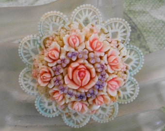1940's Pastel Floral Celluloid Pin