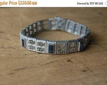 SALE Art Deco 1930s fine filigree line bracelet ∙ SOMETHING BLUE